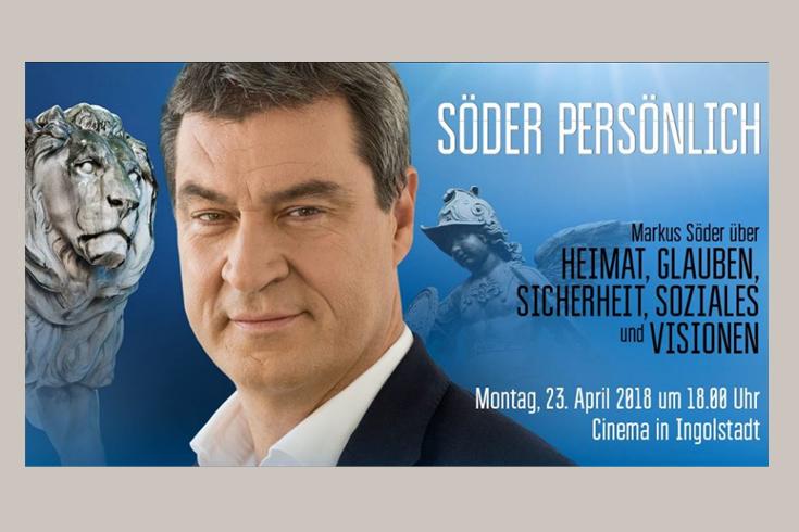 Plakat für eine Veranstaltungsreihe, eingeladen von Markus Söder, Bayerischer Ministerpräsident und Vorsitzender der CSU.