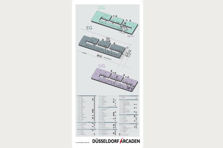 Düsseldorf Arcaden, Centerplan zum Aufstellen in der Mall