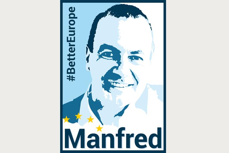 KeyVisual für den Spitzenkandidaten der CSU zur Europawahl 2019 Manfred Weber