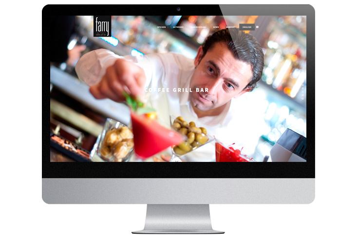 Webdesign farry coffee grill bar am Rosenkavalierplatz, München. Zweisprachig.