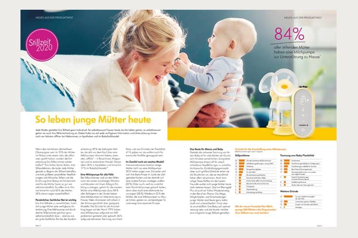 Printdesign medela Magazin: Doppelseite